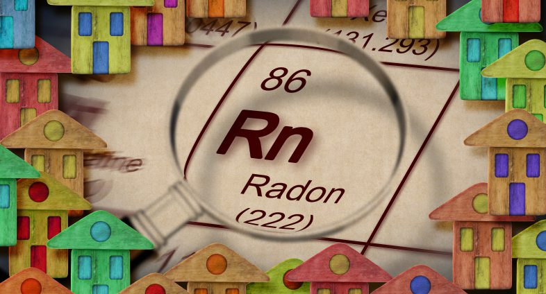 radon periodic table symbol surrounded by colourful houses